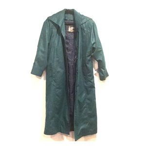 London Fog Dark Green Trench Coat Detachable Hood